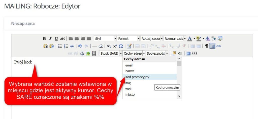 Personalizacja - kod tekstowy