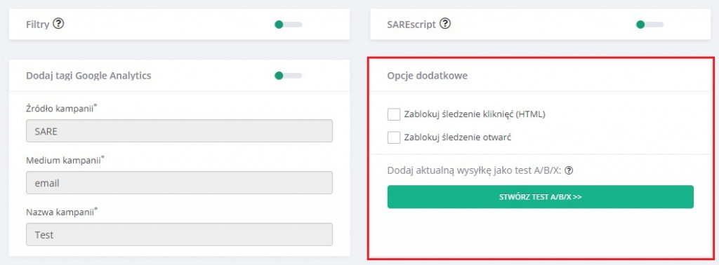 test A/B/X w systemie SARE krok pierwszy