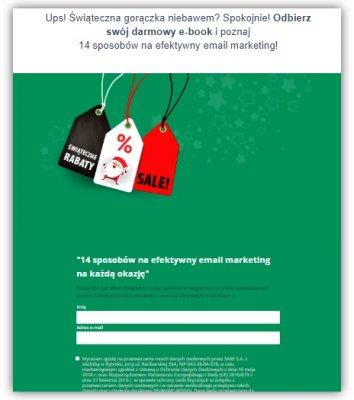 przykład świątecznego landing page do wykorzystania w direct mailingu