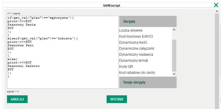 SARE script dynamiczna treść
