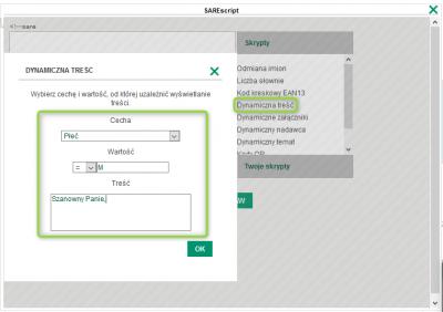 Formularz w SAREscript do uzupełnienia cech dla dynamicznej treści.