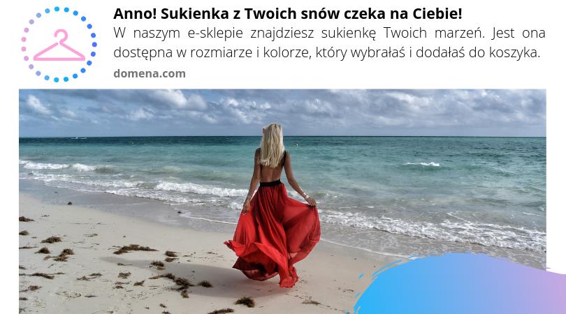 dziewczyna wczerwonej sukience naplarzy - przyklad kreacji web-push